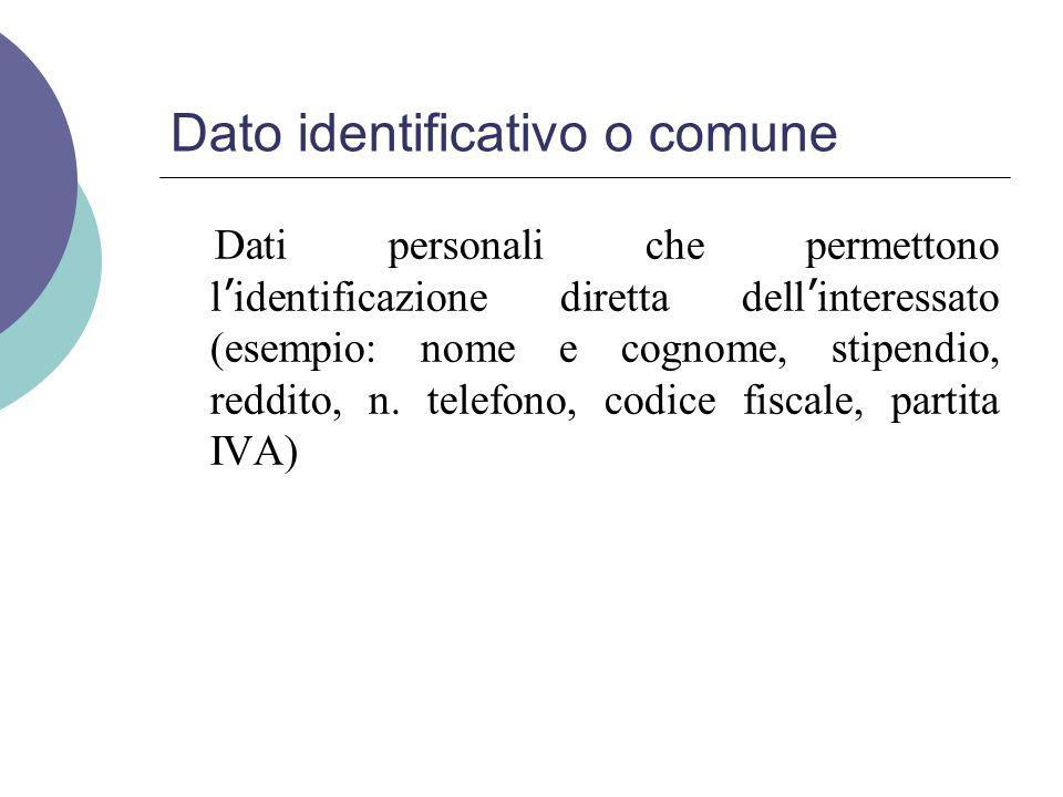 Dato identificativo o comune