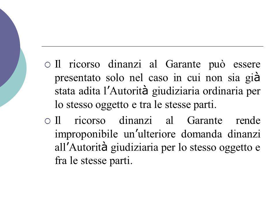 Il ricorso dinanzi al Garante può essere presentato solo nel caso in cui non sia già stata adita l'Autorità giudiziaria ordinaria per lo stesso oggetto e tra le stesse parti.