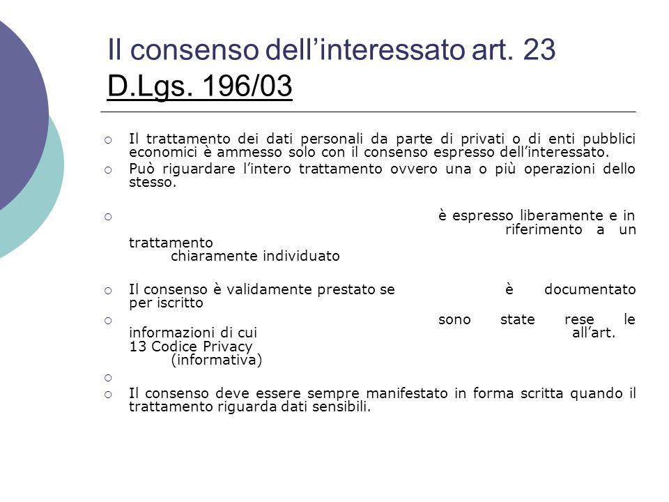 Il consenso dell'interessato art. 23 D.Lgs. 196/03