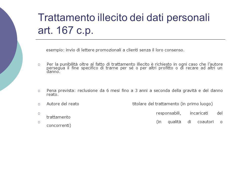Trattamento illecito dei dati personali art. 167 c.p.