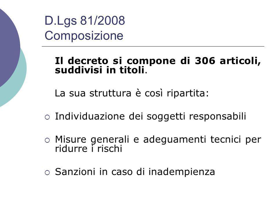 D.Lgs 81/2008 Composizione Il decreto si compone di 306 articoli, suddivisi in titoli. La sua struttura è così ripartita: