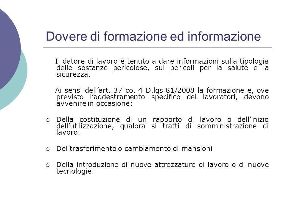 Dovere di formazione ed informazione