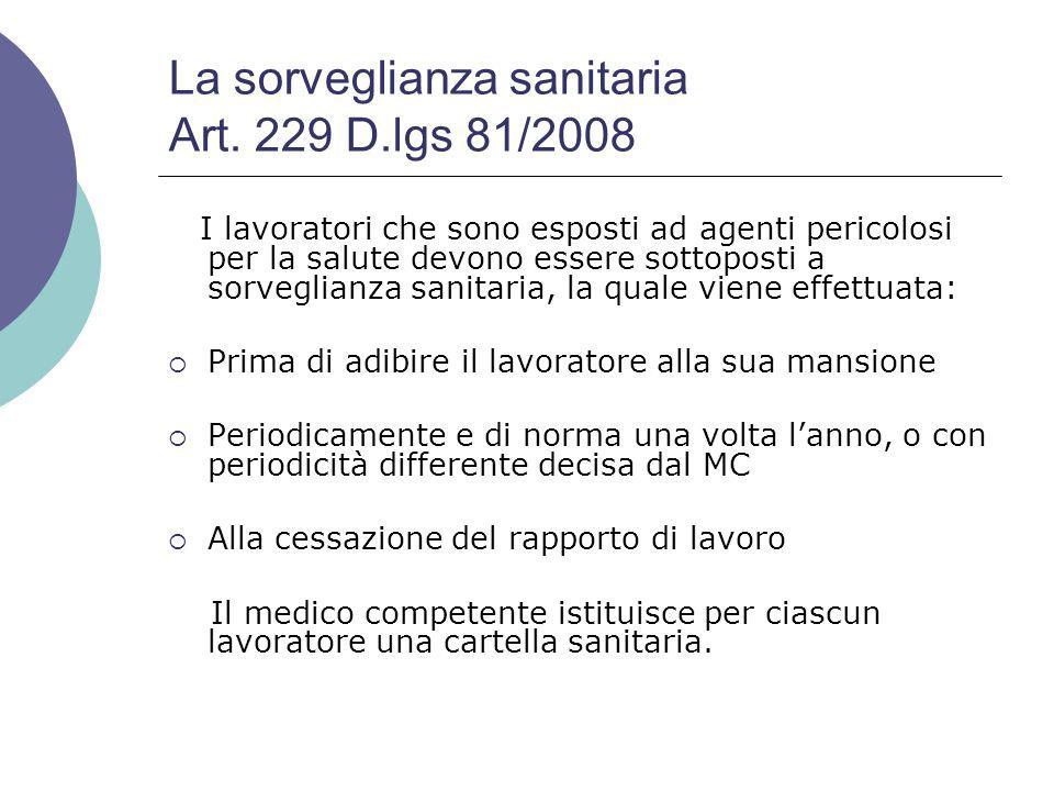 La sorveglianza sanitaria Art. 229 D.lgs 81/2008