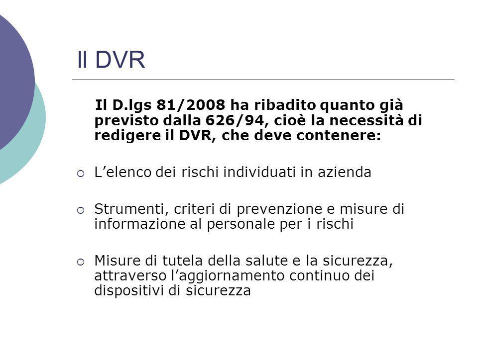 Il DVR Il D.lgs 81/2008 ha ribadito quanto già previsto dalla 626/94, cioè la necessità di redigere il DVR, che deve contenere: