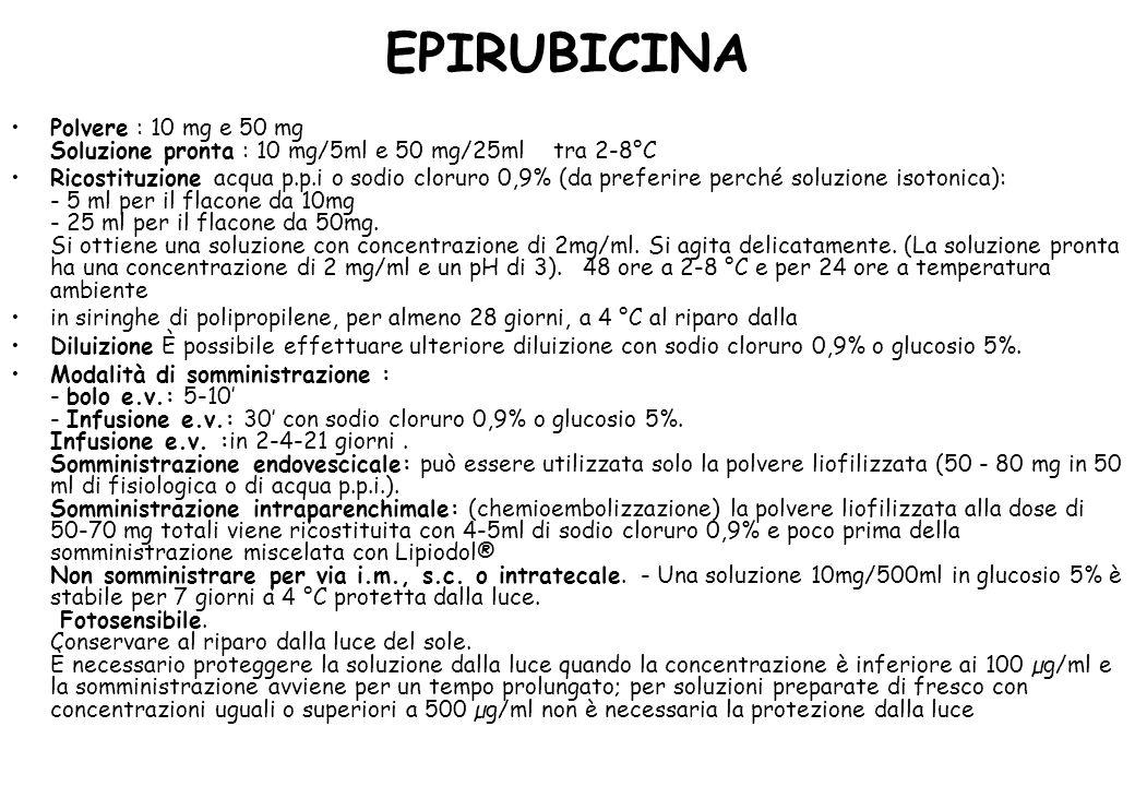 EPIRUBICINA Polvere : 10 mg e 50 mg Soluzione pronta : 10 mg/5ml e 50 mg/25ml tra 2-8°C
