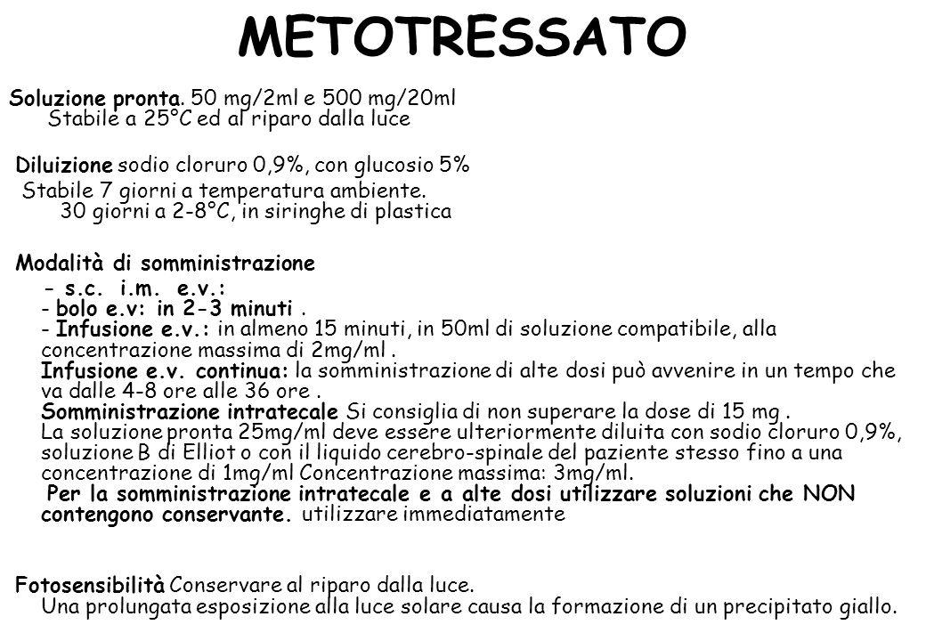 METOTRESSATO Soluzione pronta. 50 mg/2ml e 500 mg/20ml Stabile a 25°C ed al riparo dalla luce