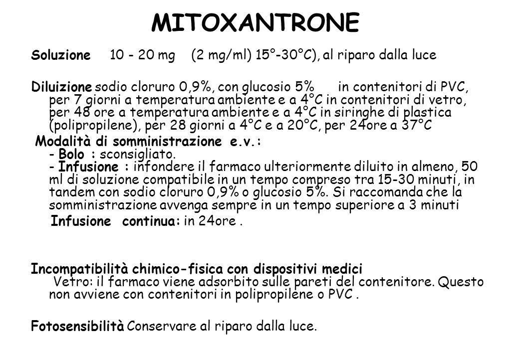 MITOXANTRONE Soluzione 10 - 20 mg (2 mg/ml) 15°-30°C), al riparo dalla luce.
