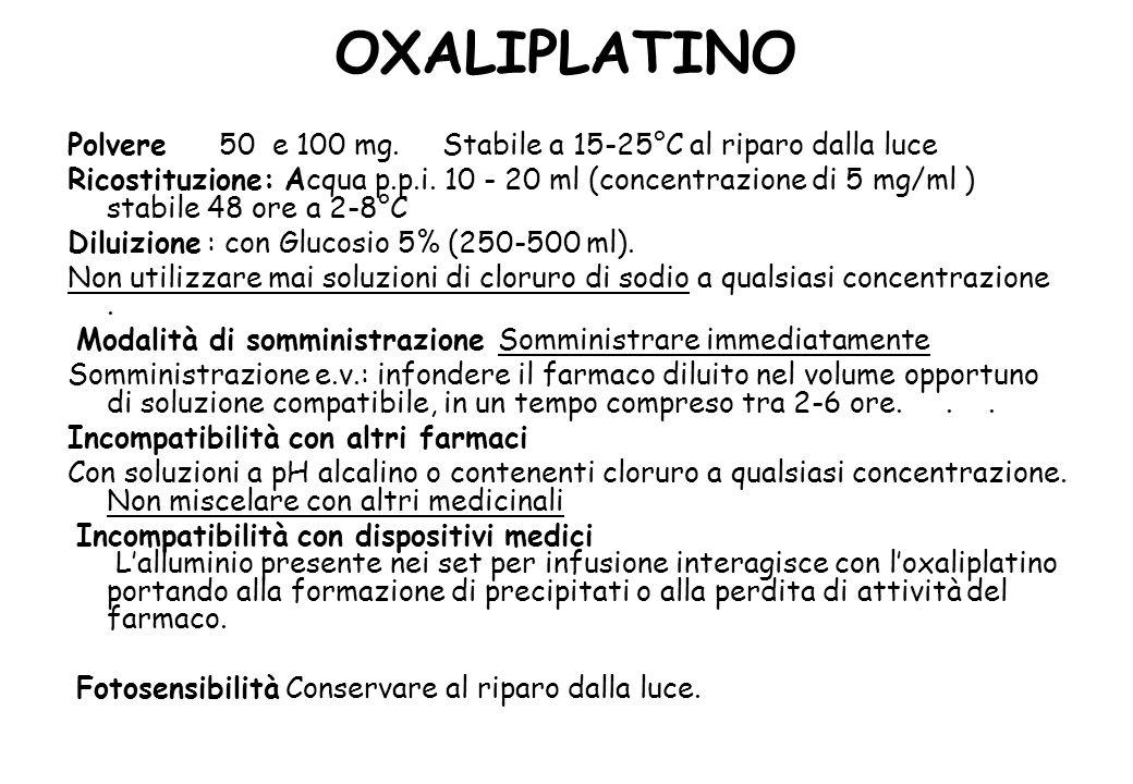 OXALIPLATINO Polvere 50 e 100 mg. Stabile a 15-25°C al riparo dalla luce.