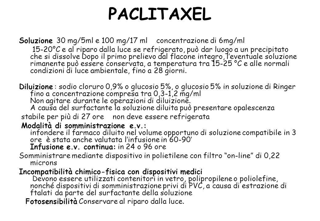 PACLITAXEL Soluzione 30 mg/5ml e 100 mg/17 ml concentrazione di 6mg/ml