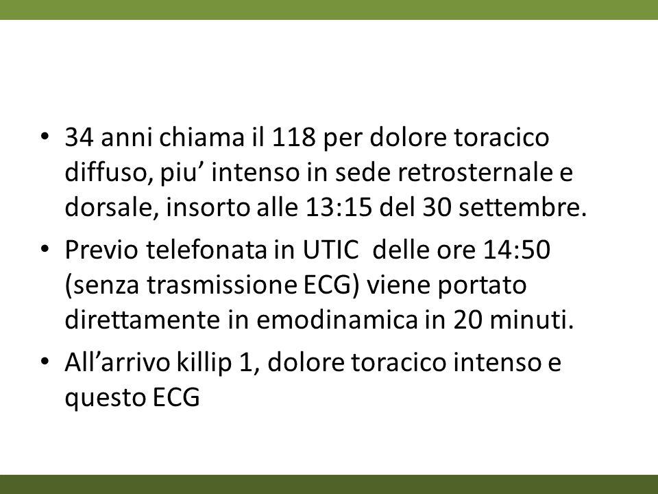 34 anni chiama il 118 per dolore toracico diffuso, piu' intenso in sede retrosternale e dorsale, insorto alle 13:15 del 30 settembre.