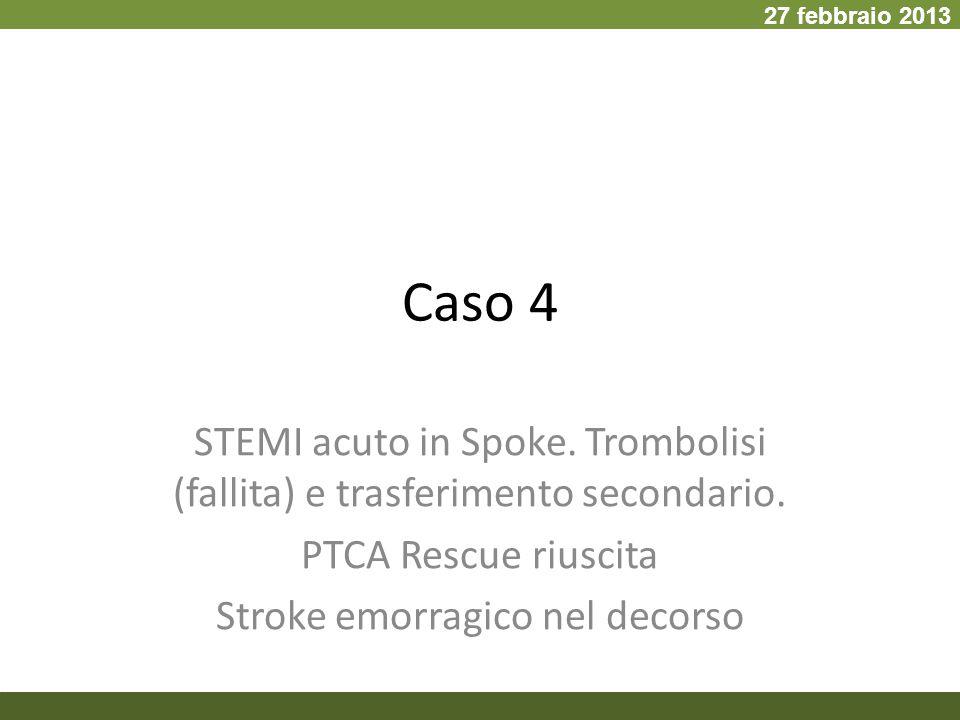 27 febbraio 2013 Caso 4. STEMI acuto in Spoke. Trombolisi (fallita) e trasferimento secondario. PTCA Rescue riuscita.