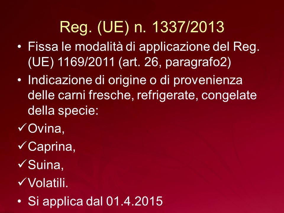 Reg. (UE) n. 1337/2013 Fissa le modalità di applicazione del Reg. (UE) 1169/2011 (art. 26, paragrafo2)