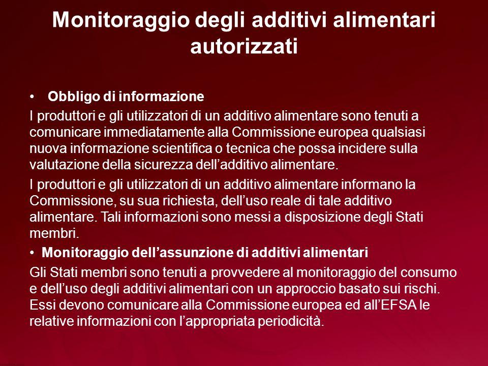 Monitoraggio degli additivi alimentari autorizzati