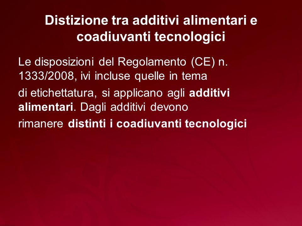 Distizione tra additivi alimentari e coadiuvanti tecnologici