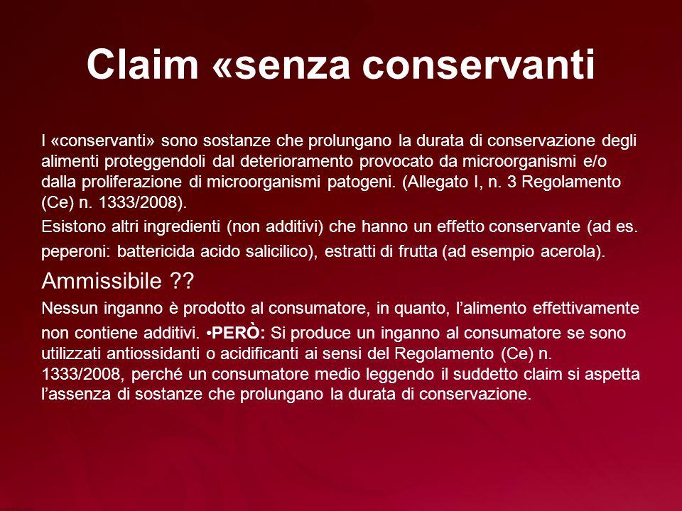 Claim «senza conservanti