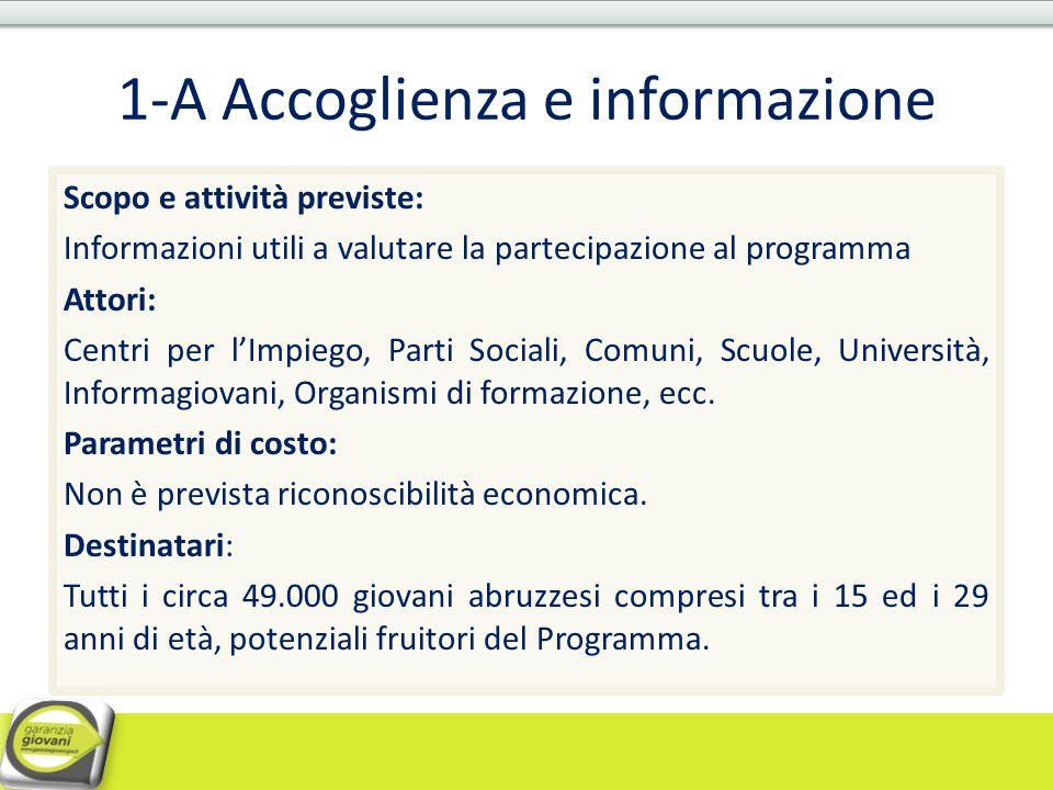 1-A Accoglienza e informazione