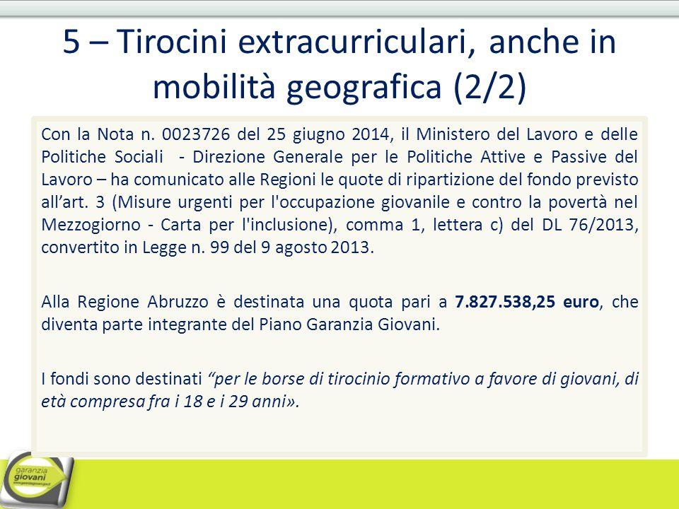 5 – Tirocini extracurriculari, anche in mobilità geografica (2/2)