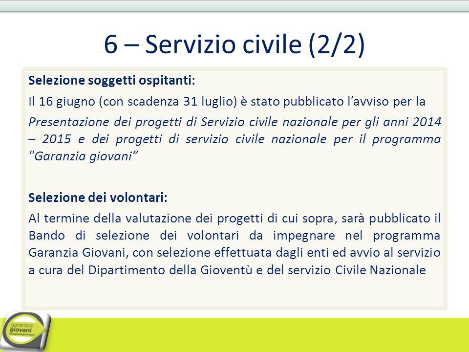 6 – Servizio civile (2/2)