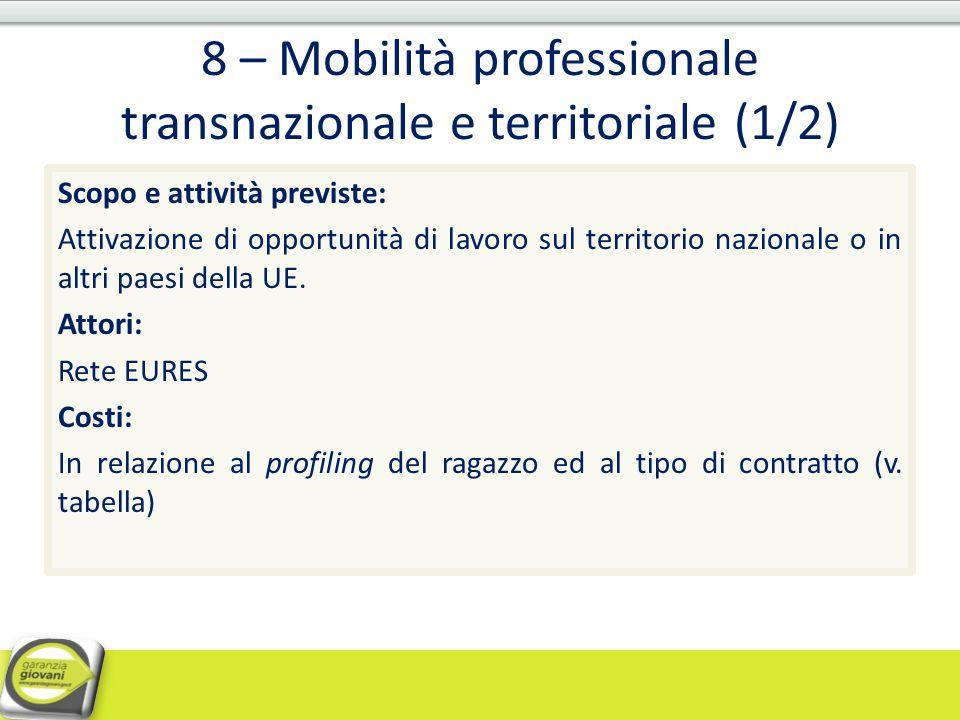 8 – Mobilità professionale transnazionale e territoriale (1/2)