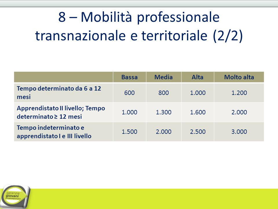 8 – Mobilità professionale transnazionale e territoriale (2/2)