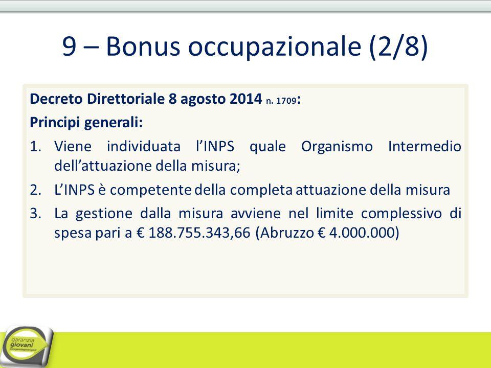 9 – Bonus occupazionale (2/8)