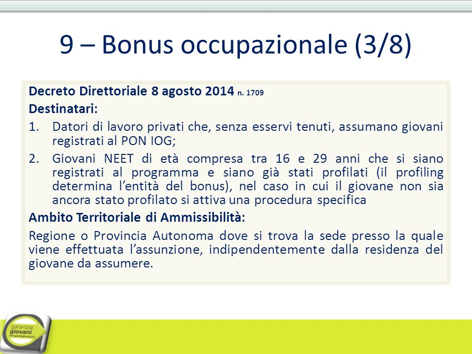 9 – Bonus occupazionale (3/8)
