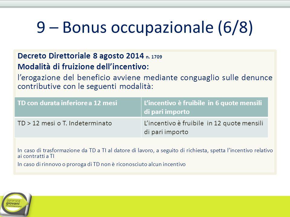 9 – Bonus occupazionale (6/8)