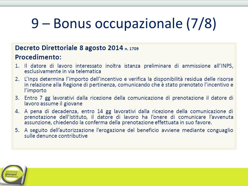 9 – Bonus occupazionale (7/8)