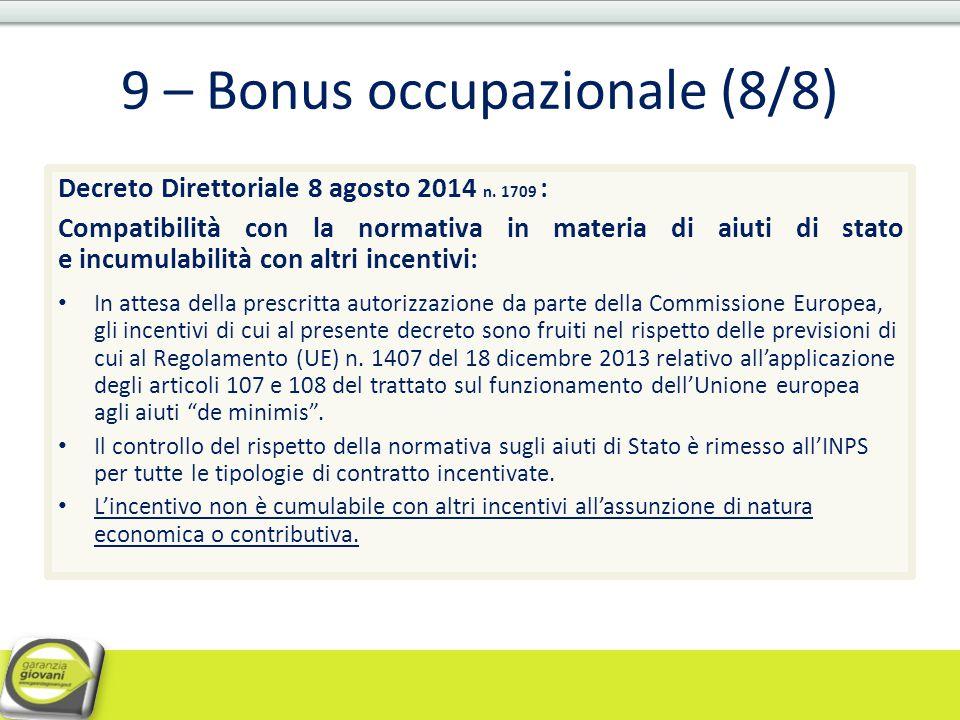 9 – Bonus occupazionale (8/8)