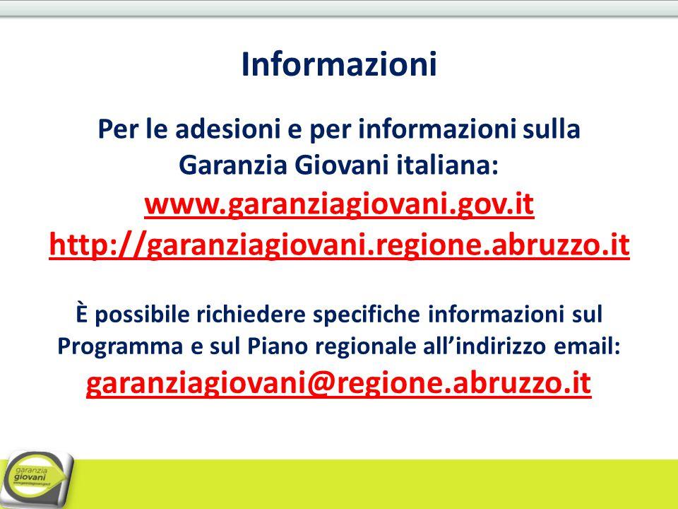 Per le adesioni e per informazioni sulla Garanzia Giovani italiana:
