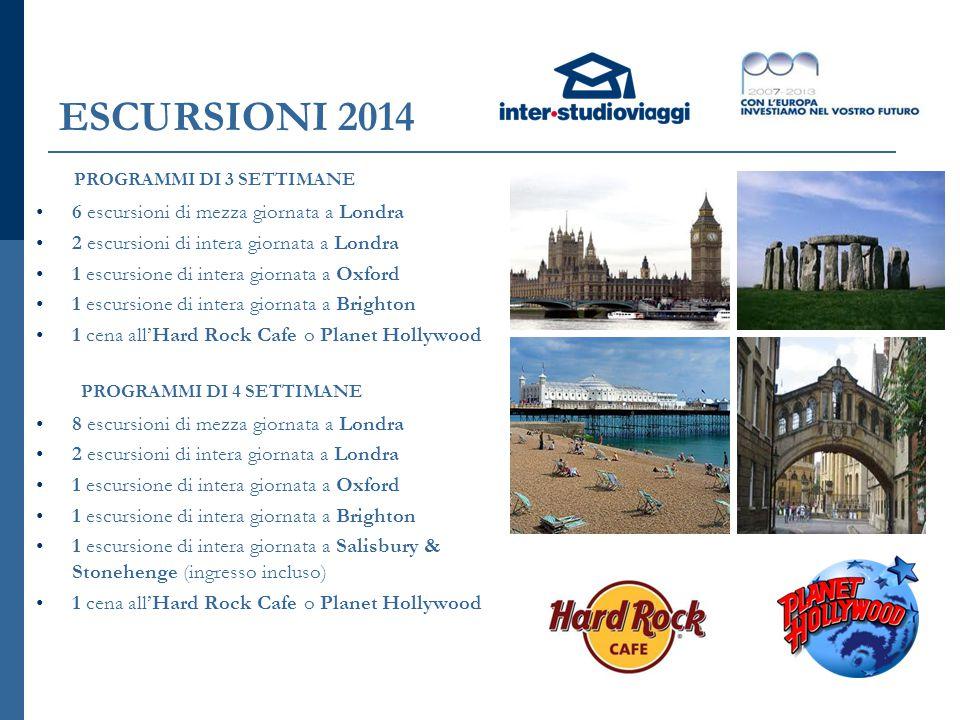 ESCURSIONI 2014 6 escursioni di mezza giornata a Londra