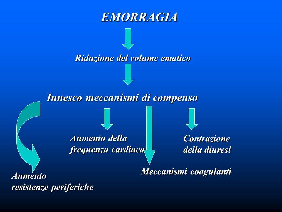 EMORRAGIA Innesco meccanismi di compenso Riduzione del volume ematico