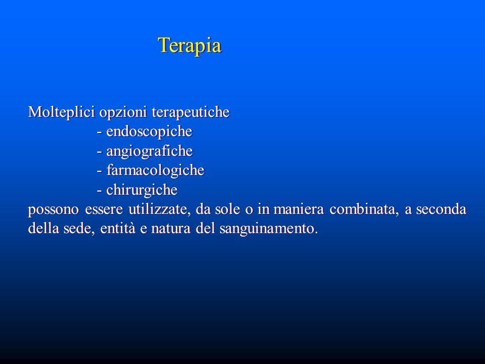 Terapia Molteplici opzioni terapeutiche - endoscopiche - angiografiche