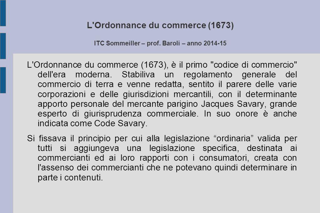 L Ordonnance du commerce (1673) ITC Sommeiller – prof