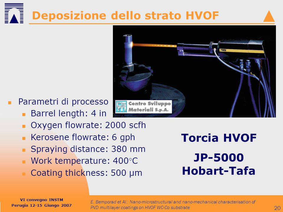 Deposizione dello strato HVOF