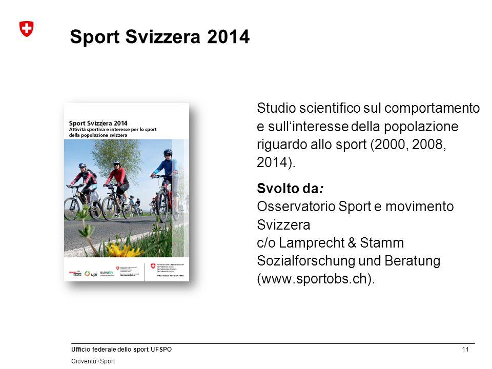 Sport Svizzera 2014 Studio scientifico sul comportamento e sull'interesse della popolazione riguardo allo sport (2000, 2008, 2014).