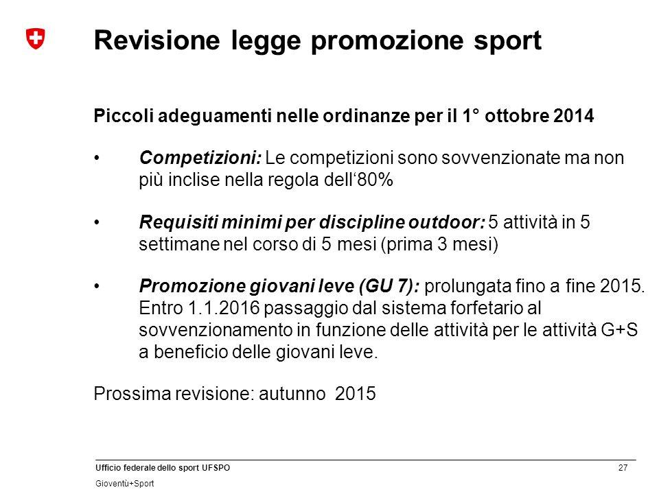 Revisione legge promozione sport