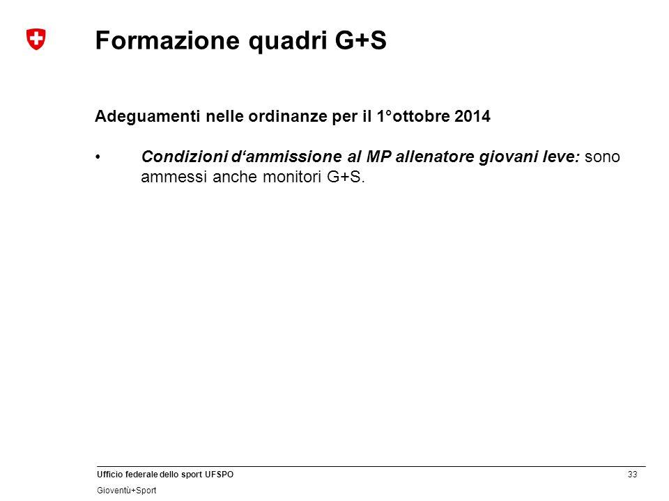 Formazione quadri G+S Adeguamenti nelle ordinanze per il 1°ottobre 2014.