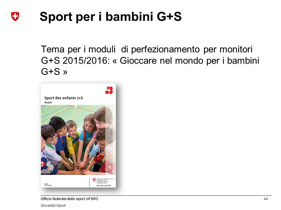 Sport per i bambini G+S Tema per i moduli di perfezionamento per monitori G+S 2015/2016: « Gioccare nel mondo per i bambini G+S »
