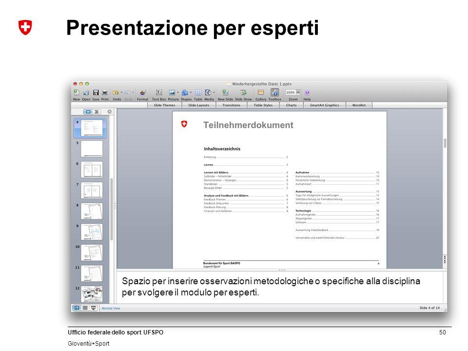Presentazione per esperti