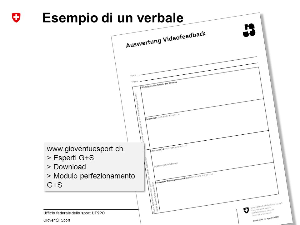Esempio di un verbale www.gioventuesport.ch > Esperti G+S
