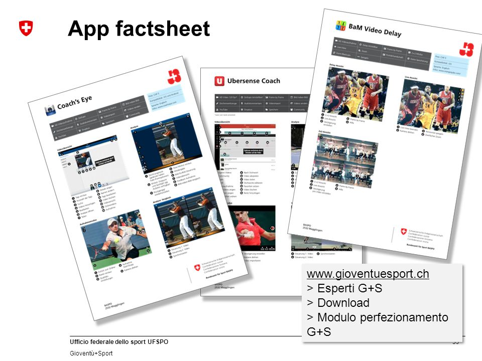 App factsheet www.gioventuesport.ch > Esperti G+S > Download