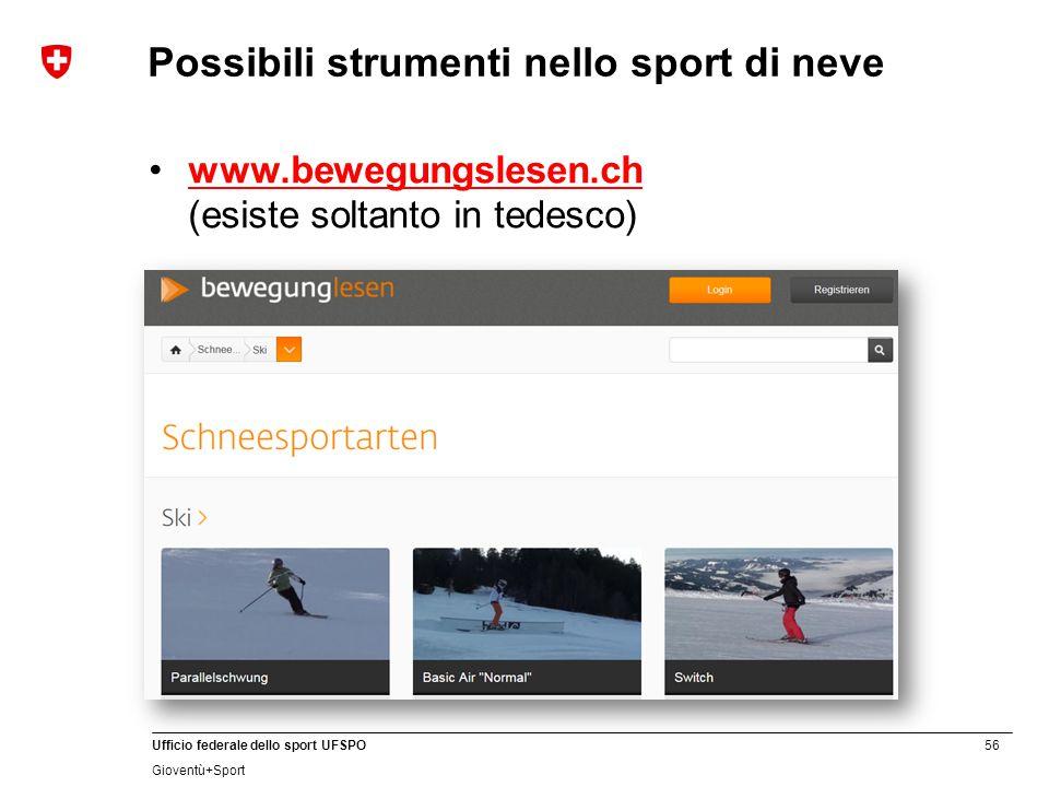 Possibili strumenti nello sport di neve