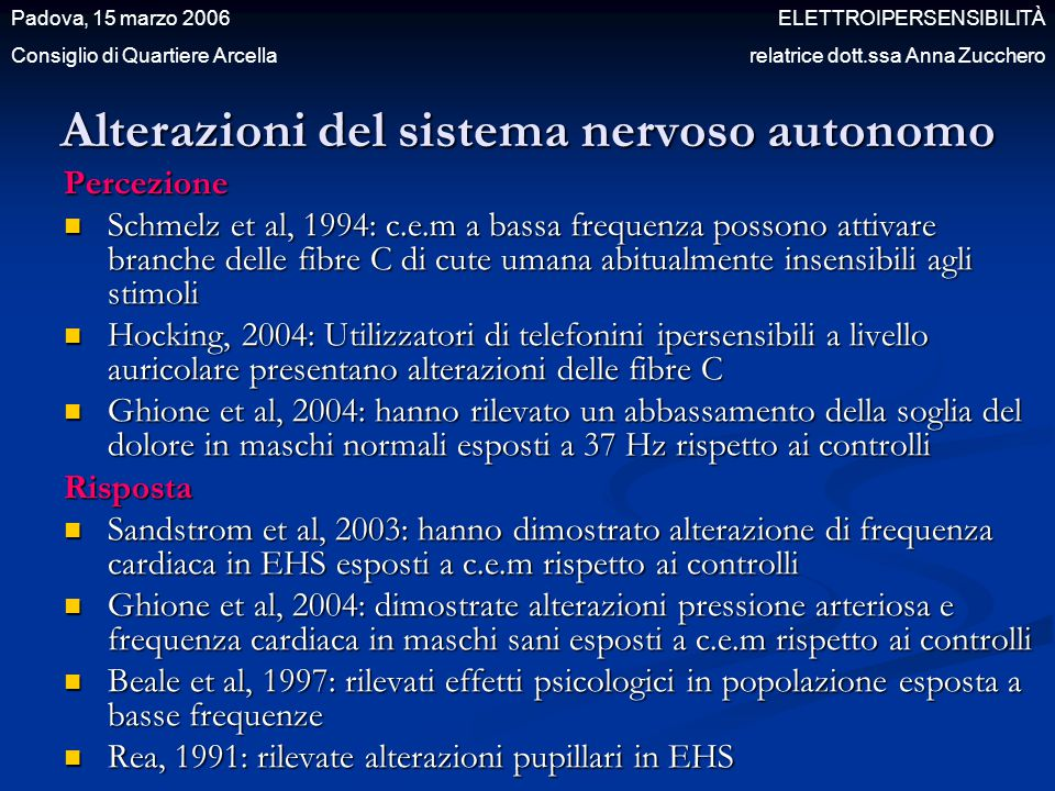 Alterazioni del sistema nervoso autonomo