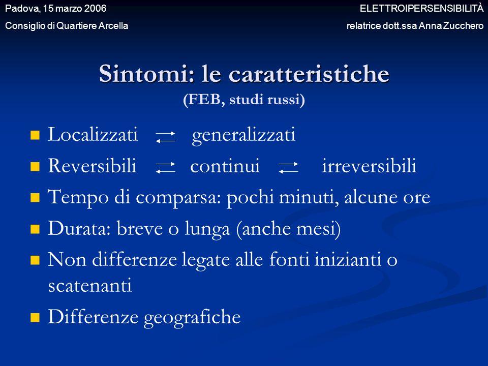 Sintomi: le caratteristiche (FEB, studi russi)