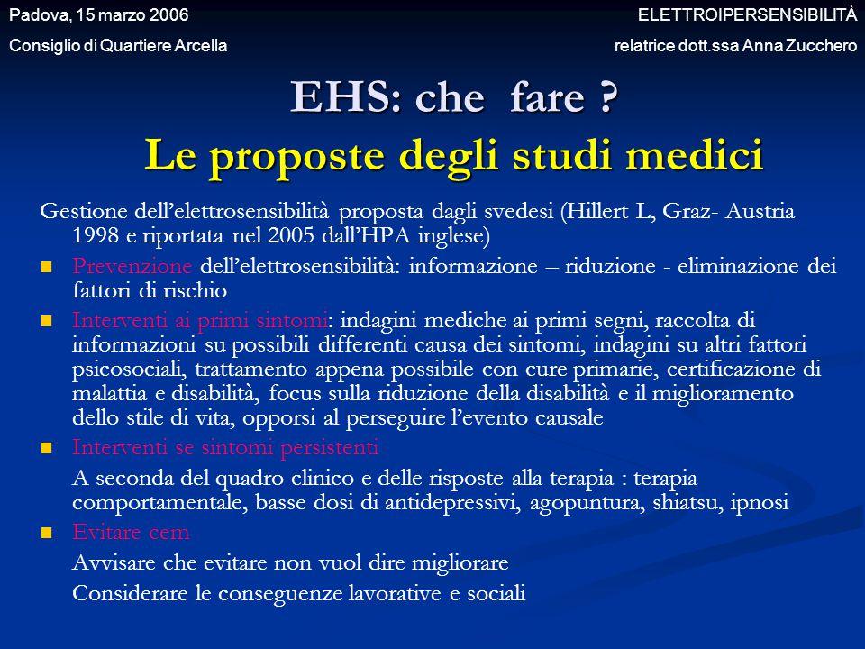 EHS: che fare Le proposte degli studi medici
