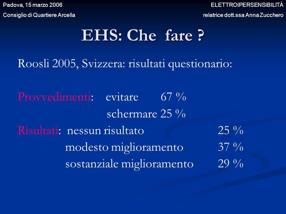 EHS: Che fare Roosli 2005, Svizzera: risultati questionario: