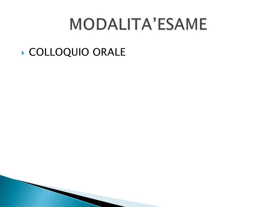 MODALITA'ESAME COLLOQUIO ORALE