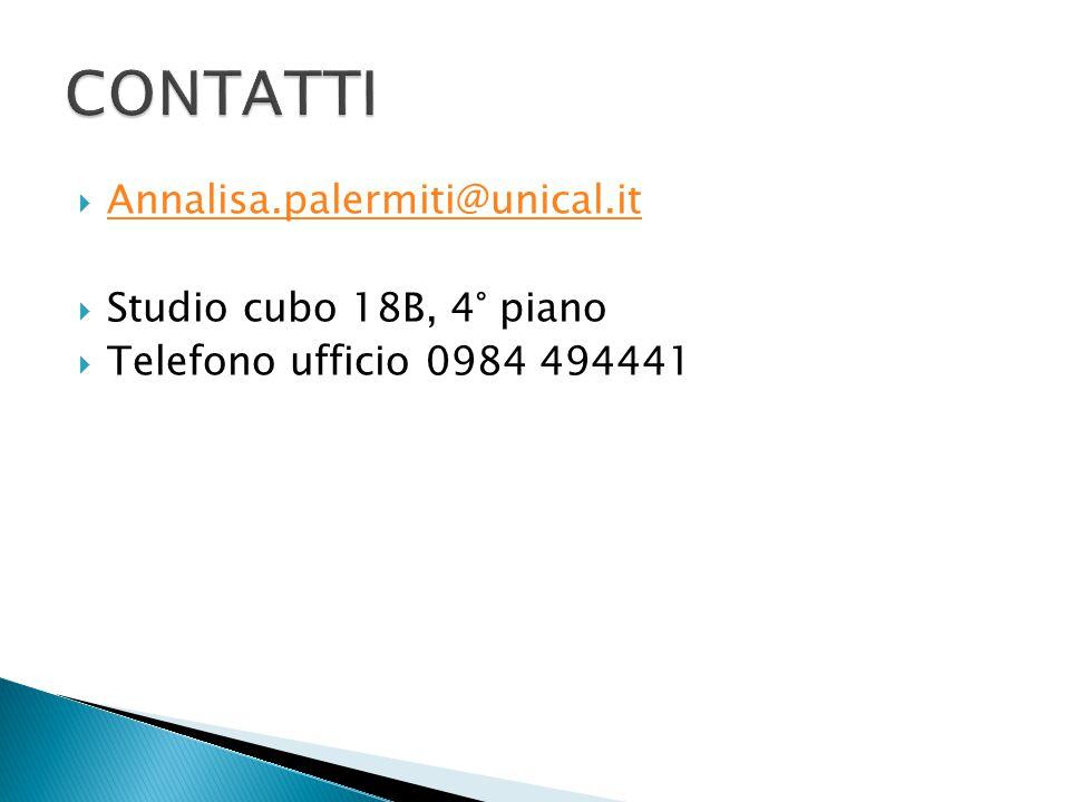 CONTATTI Annalisa.palermiti@unical.it Studio cubo 18B, 4° piano