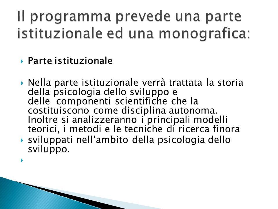 Il programma prevede una parte istituzionale ed una monografica: